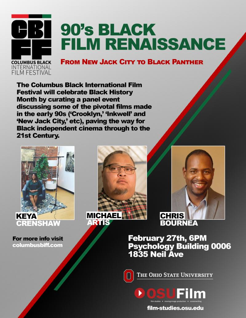 Flier for CBIFF event discussing 90s Black Film