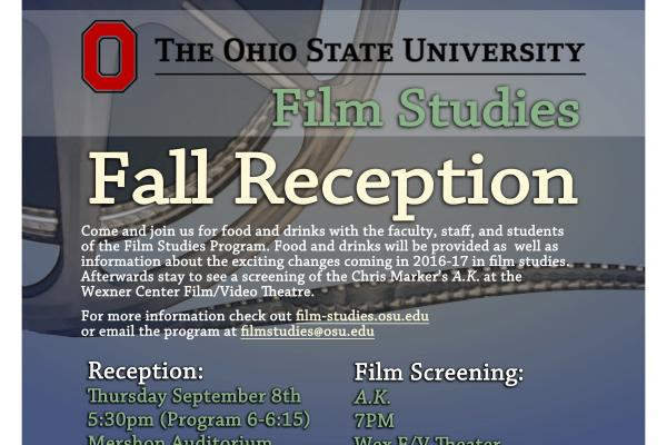 Flier for Film Studies Fall Reception 2016
