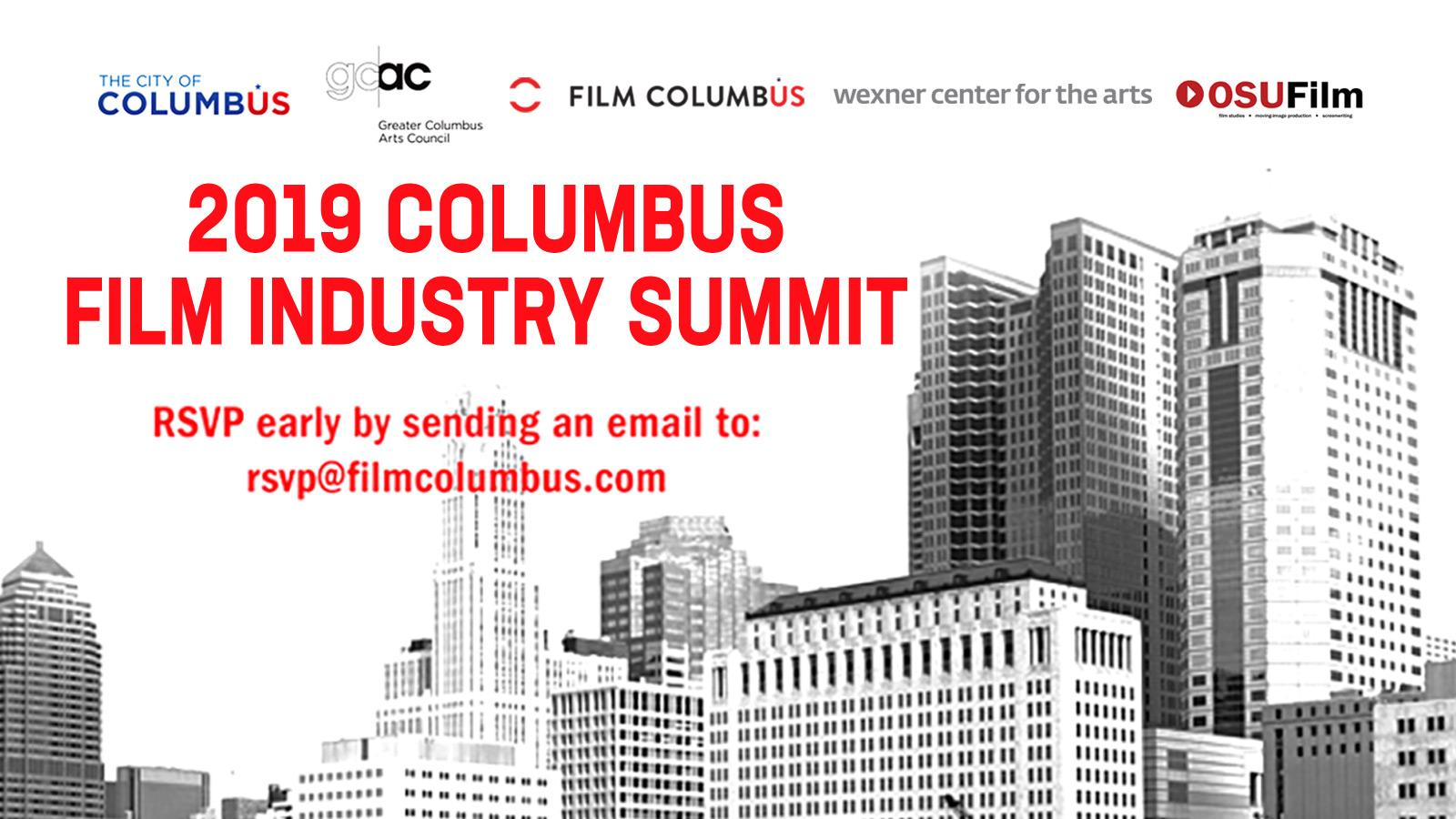2019 Columbus Film Industry Summit with listed sponsors