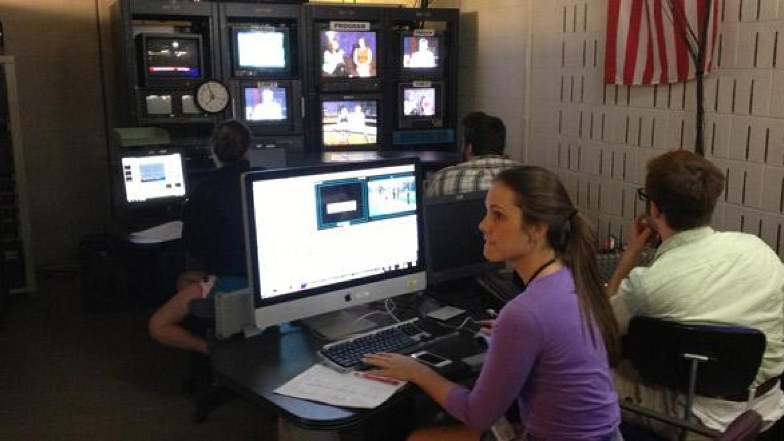 Undergraduates work together for hands-on experience in film production.